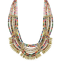 Multi Color Beaded Gold Bib Necklace