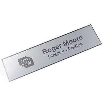 "Custom Laserfrost Silver 2"" x 8"" Personalized Plate - Customized Name Plate for Office"