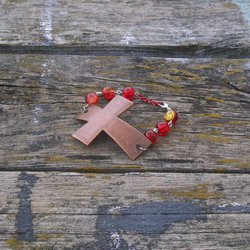 Large Copper Cross Beaded Bracelet red yellow beads
