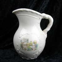"Precious Moments 1.5 Quart Pitcher, Vintage 1994, ""We Gather Together to ask the Lord's Blessings"", Family Easter Thanksgiving, Collectible"