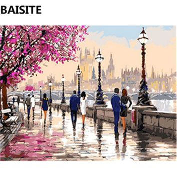 BAISITE Frameless DIY Oil Painting Pictures By Numbers On Canvas Wall Pictures Wall Art For Living Room Home Decoration C095