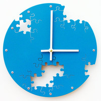 Puzzle Wall Clock IV (Lagoon) Custom Colors Available
