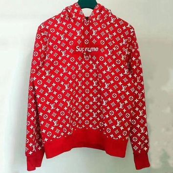 LV X Supreme Trending Women Men Embroidered Print Long Sleeve Hooded Sweater Sweatshirt Red I