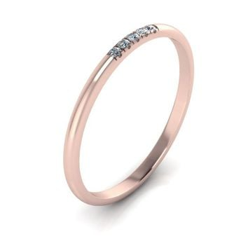 14k Rose Gold Band with Five Diamonds