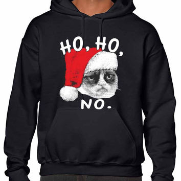 HO HO NO Grumpy cat men Hooded sweatshirt