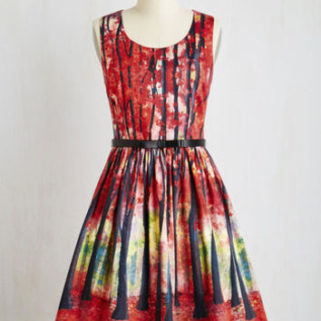 Mid-length Sleeveless Fit & Flare Festive Frondescence Dress