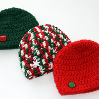 Baby Christmas hats Ready to Ship red green white set of three crochet newborn 0-3 month photo prop