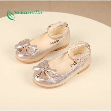 Newest Autumn Girls leather shoes Children girls baby princess bowknot sneakers pearl