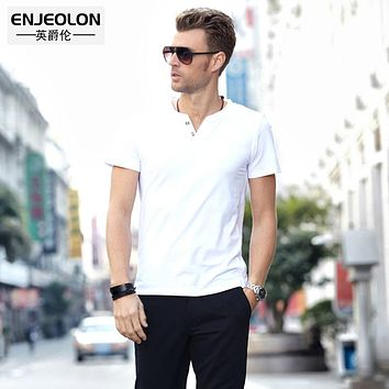 short sleeve t shirt man solid cotton v-neck clothing solid fashion casual men t-shirts