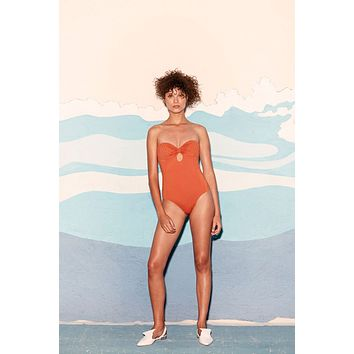Dorle Weaving Sweetheart One Piece Swimsuit - Ginger Orange