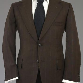 Vintage 60s Griffon Clothes Brown Pinstripe Wool Jacket/Blazer 42 S Monkey Suit