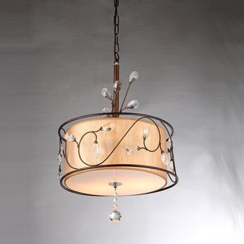 Chandelier Bronze tone crystal accents champagne shade Amelia