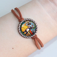 handmade  beauty and the beast vintage bracelet   beauty and the beast  glass bracelet