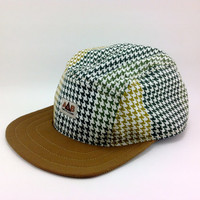 Handmade Five Panel Cap . 5 panel hat . Camp Cap . one of a kind hat .  Skateboarding Hat . Summer Cap . Mens Hat . made and ready to ship