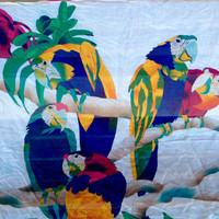 Tropical Parrot cotton scarf, Blue, Green Yellow and Pink Birds Shawl, Tropical light cotton wrap, Vintage fashion, Hipster Girl Scarf