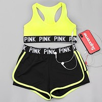 Victoria's Secret Pink Fashionable Women Sexy Sport Yoga Gym Tank Top Vest Bra Shorts Underwear Set Two-Piece Sportswear(6-Color) Fluorescent Green I13884-1