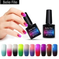 BELLE FILLE 10ml Thermal Temperature Gel Nail Polish Neon Color Change UV Gel Varnishes Lacquer Home Manicure soak off polish