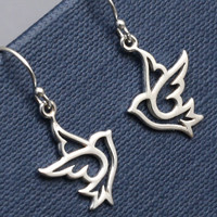 Silver Dove Earrings,Sterling Silver, Bird Earrings,Dove Earrings,Bird Charm,Sterling Silver Dove,Gift For Her