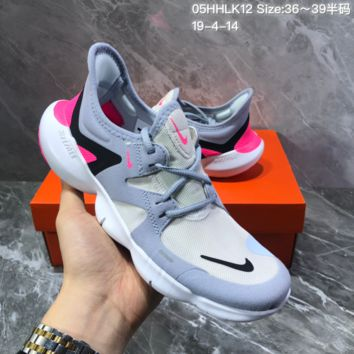HCXX N1353 Wmns Nike Free Rn Flyknit 5.0 Light Fashion breathable Running Shoes Gray White Pink