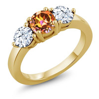 2.45 Ct Round Ecstasy Mystic Topaz 18K Yellow Gold Plated Silver Ring