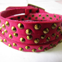 Rock Punk Style Peach Leather with Bronze Rivet by braceletcool