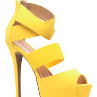 Yellow Faux Suede Strappy Platform Heels