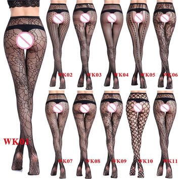 New Style Women's Tights Sexy Stockings Tattoos Jacquard Elastic See Trough Lace Top Garter Belt Thigh Black Pantyhose