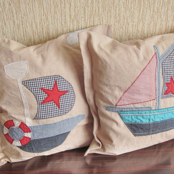 Two Decorative child cushions pillowcase boats deco cotton pillow covers boat motif pillows cotton cushion  Independence Day US Coast Guard
