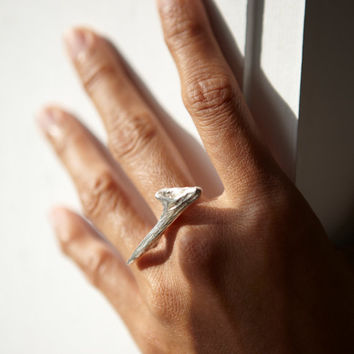 Sterling Silver Driftwood Ring - Inspired by Nature - Free Shipping