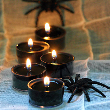 Cracklin Birch Scented Soy Tealights, Black Candles, Halloween Gift Idea, Gift idea for men, Handpoured in Brooklyn, Choose Your Pack