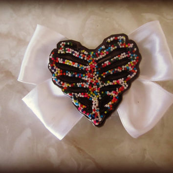 Ribcage Dead Skeleton Real Candy Sprinkle Heart Hair Bow clip