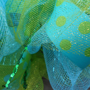 Light Green and Turquoise Deco Mesh Wreath with Letter-Mesh Wreath-Deco Mesh Wreath-Outdoor Wreath-Spring Wreath-Initial Wreath