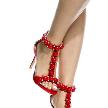 Red Faux Patent Leather T Strap Single Sole Heels @ Cicihot Heel Shoes online store sales:Stiletto Heel Shoes,High Heel Pumps,Womens High Heel Shoes,Prom Shoes,Summer Shoes,Spring Shoes,Spool Heel,Womens Dress Shoes