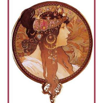 Byzantine Brunette by Alphonse Mucha Counted Cross Stitch or Counted Needlepoint Pattern
