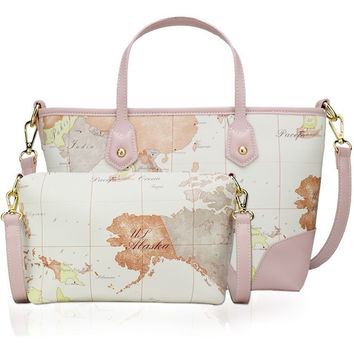 High Quality, Pastel, 2 bags- Set, World Map Handbags