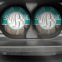 Personalized Monogrammed Car Coasters Turquoise Deer Buck Camo , Cup Holder Coaster, Monogram Gift, Gift for Her Sandstone Coaster