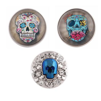 """Snap Charm Happy Laughing Colorful Skulls Bling Trio 20mm 3/4"""" Diameter"""