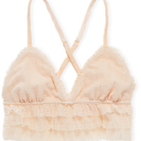 Aerie Real Obsessed™ Ruffle Triangle Bralette, Faded Neon Orange