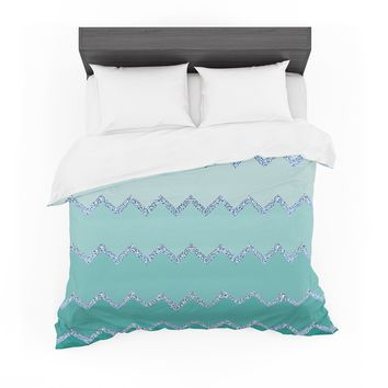 "Monika Strigel ""Avalon Mint Ombre"" Aqua Green Featherweight Duvet Cover"
