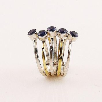 Sapphire Sterling Silver Two Tone Stack Ring