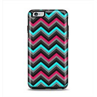 The Sharp Pink & Teal Chevron Pattern Apple iPhone 6 Plus Otterbox Symmetry Case Skin Set