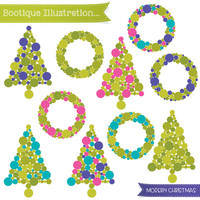 Modern Christmas Clipart. Christmas Trees Clipart. Christmas Wreaths Clipart. Modern Christmas Clip Art. Christmas Trees Vectors.