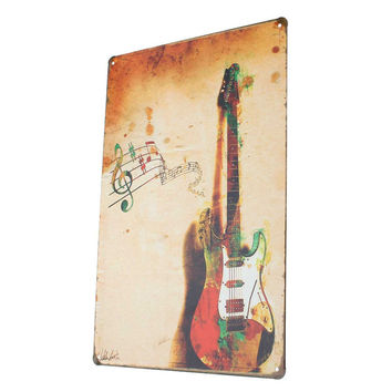 Modern Vintage Metal Tin Signs Guitar and Music Retro Poster Metal Painting for Home Bar Cafe Pub Sticker Wall Decor 20x30cm
