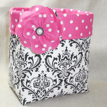 Pretty Black and White Damask Fabric Basket With Pink Polka Dot Liner and Detachable Fabric Flower Pin