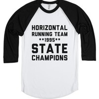 Horizontal Running Champs-Unisex White/Black T-Shirt