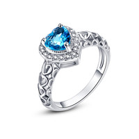 Endless Love Like The Sea Heart Cut Aquamarine White 14K White Gold Plated Ring Wedding Size