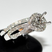 Semi Mount 1.3ct Diamond Vintage Engagement Ring + Wedding Band fit upto 2ct New