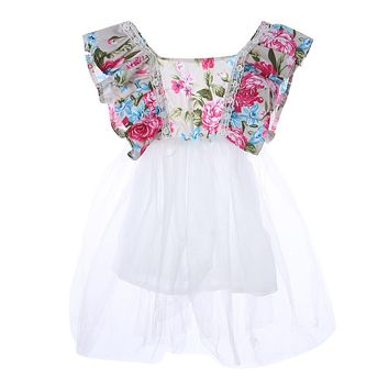 Baby Girls Floral Dress Party Ball Gown Lace Tutu Dress Newborn Formal Dresses Toddler Kids Princess Sundress