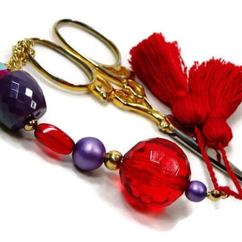 Scissor Fob, Red, Purple, Fuchsia, Quilting, Sewing, Cross Stitch, Beaded, Gift for Crafter, DIY Crafts