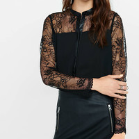 Lace Yoke Faux (minus The) Leather Trim Shirt from EXPRESS